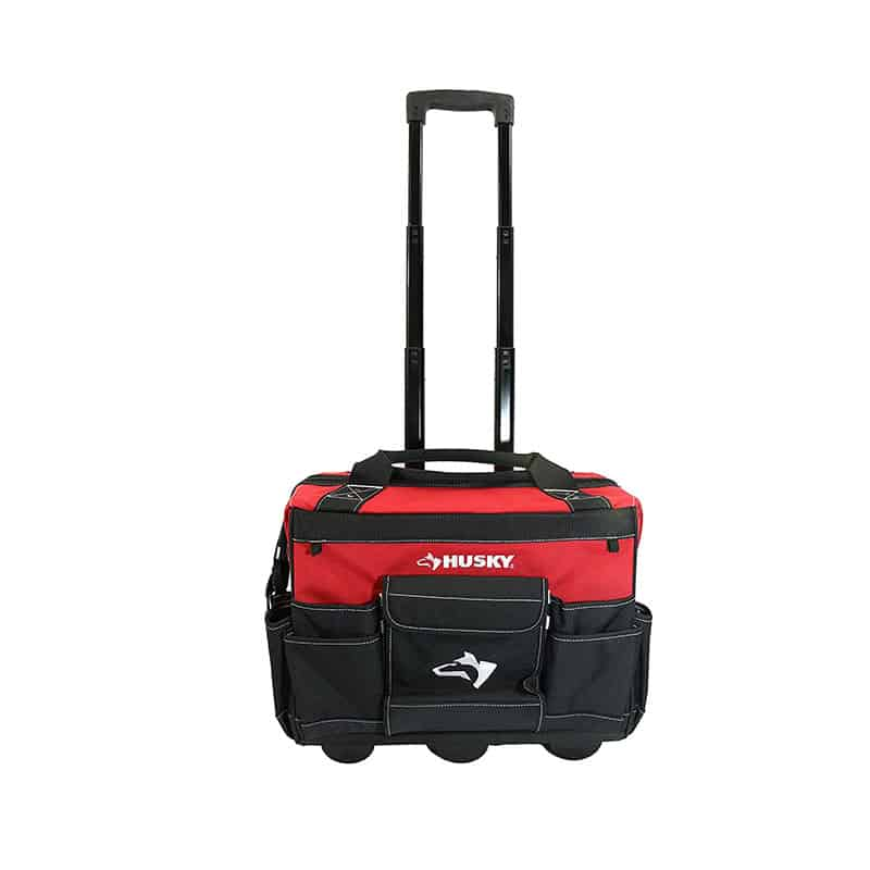 Husky Denier Red Water Resistant Contractor's Rolling Tool Tote Bag